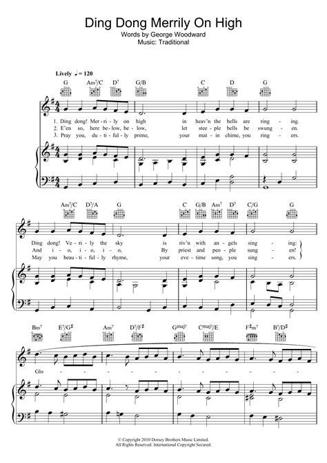 printable lyrics for ding dong merrily on high traditional carol ding dong merrily on high sheet