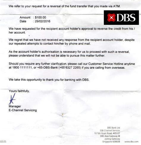 Confirmation Letter Singapore Singapore News Today Makes Fund Transfer To Wrong Dbs Acc Dbs Unable To Help