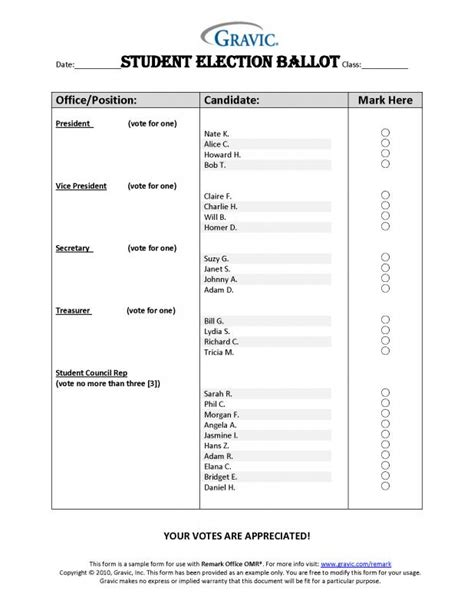 free voting ballot template sle ballot template shatterlion info
