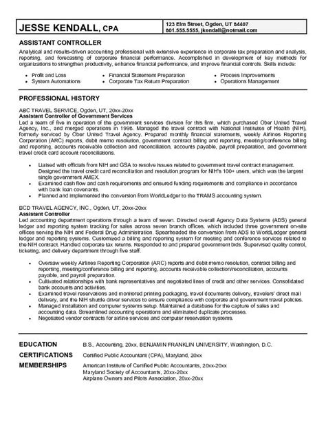 assistant controller cover letter sle resume accounting assistant sle resume