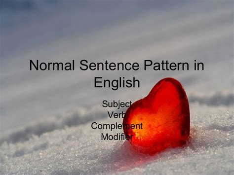 Normal Sentence Pattern In English | normal sentence pattern in english