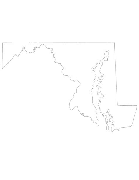 Maryland Map By County Outline by Maryland State Outline Map Free