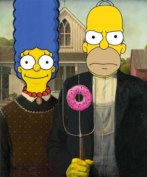 art parody simpson gothic art parody american gothic redux