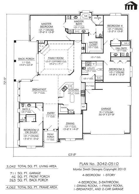 1 home plans 4 bedroom 3 bath house plans