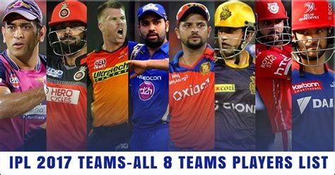 ipl all team player list ipl 2017 teams list of all 8 teams and players details
