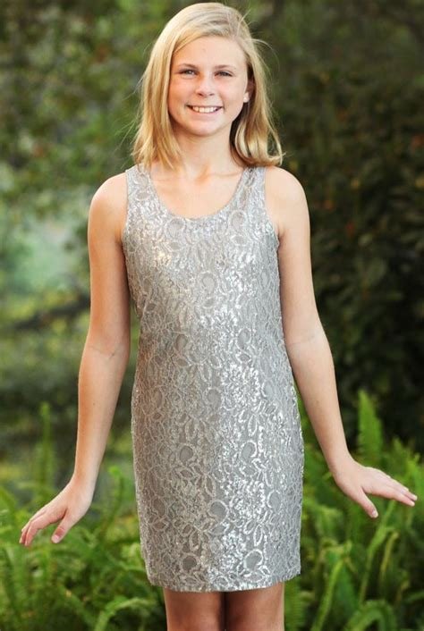 7 For Tweens by Elisab Frosted Lace Sleeveless Shift Dress For Tweens