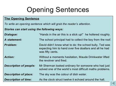 Starts Sentence by Writing Narratives