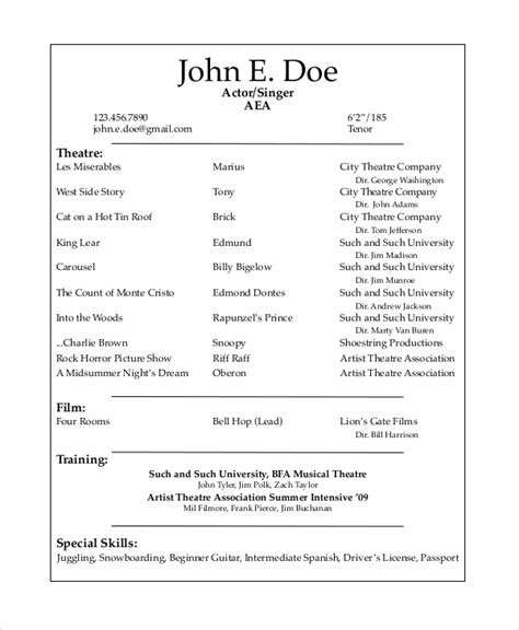 actors resume exle best resumes