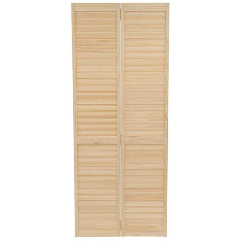 Solid Wood Louvered Doors Interior Bay 32 In X 80 In 32 In Plantation Louvered Solid Unfinished Wood Interior