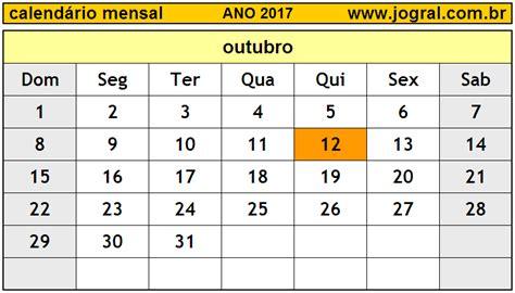 Calendario Do Mes De Outubro De 2017 Calend 225 Mensal Outubro De 2017 Imprimir M 234 S De
