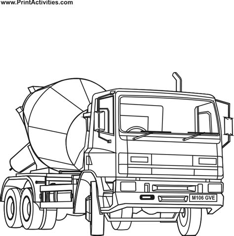 cement mixer coloring page coloring home