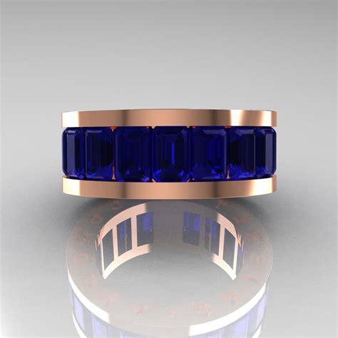 mens modern 10k gold blue sapphire channel cluster