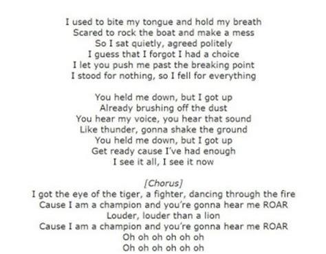 Printable Lyrics Roar   katy perry roar lyrics for android