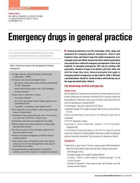 emergency drugs in emergency room emergency list