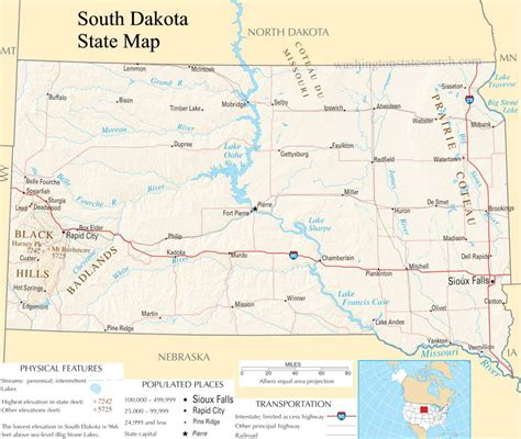 South Dakota Search South Dakota State Map A Large Detailed Map Of South Dakota State Usa