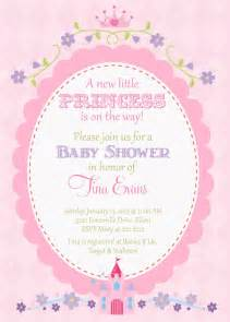 princess baby shower invitation pretty pink with oval frame with castle crown and flowers