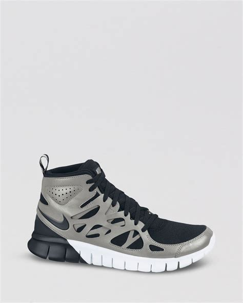 high top nike running shoes lyst nike lace up high top sneakers womens free run 2