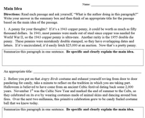 6th grade main idea supporting details lessons tes teach 13 best images of first grade main idea worksheets first