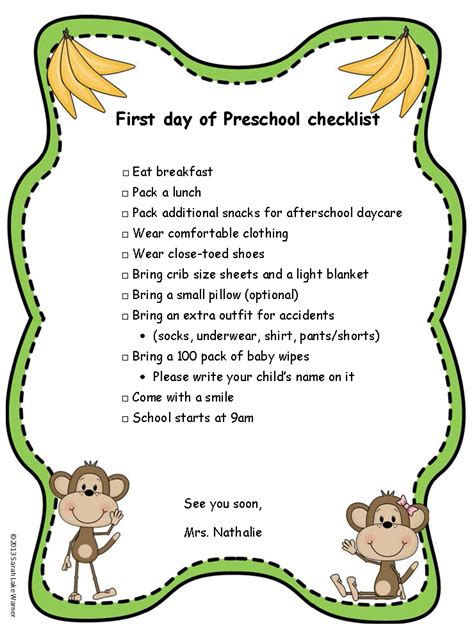 kindergarten activities for the first day of school preschool for rookies first day of preschool checklist