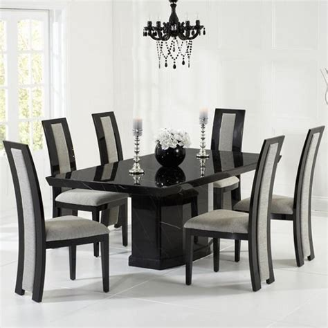 black dining table hamlet marble dining table in black with 6 grey