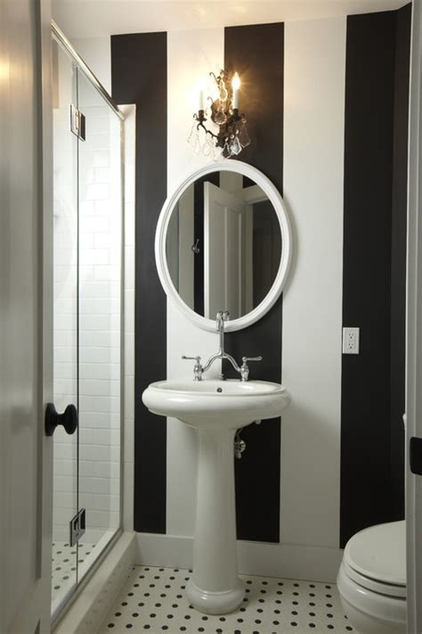 decoration wallpaper for bathrooms ideas with striped black and white striped wallpaper used by bec and george