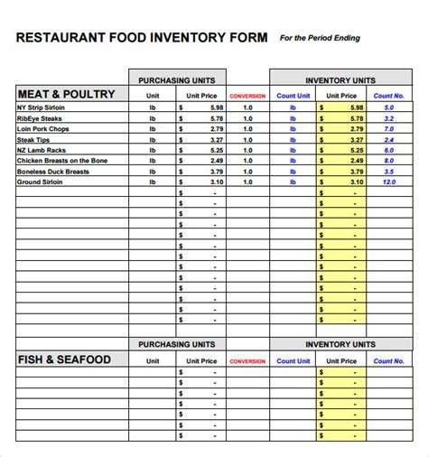 10 Food Inventory Sles Sle Templates Restaurant Inventory Sheet Template