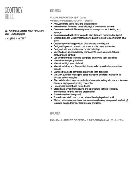 visual merchandiser resume sle velvet
