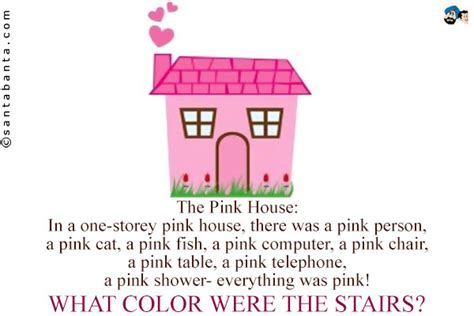 pink house riddle the pink house in a one storey pink house there was a pink person a pink cat a