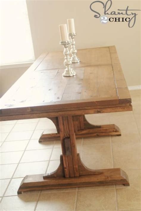 ana white build  triple pedestal farmhouse table