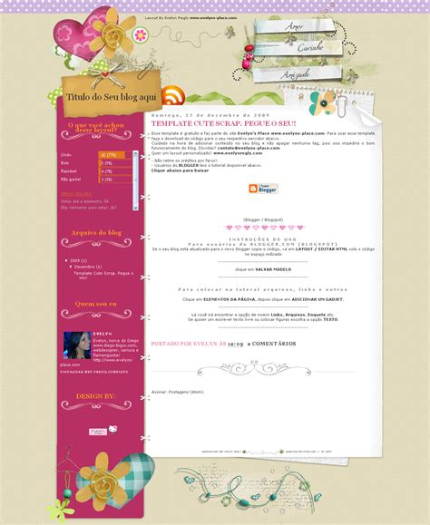 blogger free cute srap free layout blogger by evelynregly on deviantart