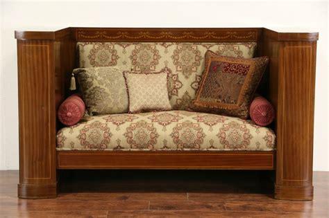 sold biedermeier empire antique  marquetry hall settee  sofa harp gallery
