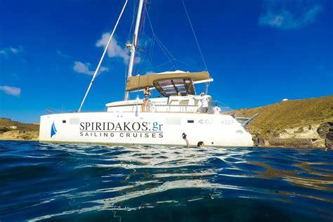 catamaran cruise with sunset santorini premium santorini catamaran sunset cruises by spiridakos