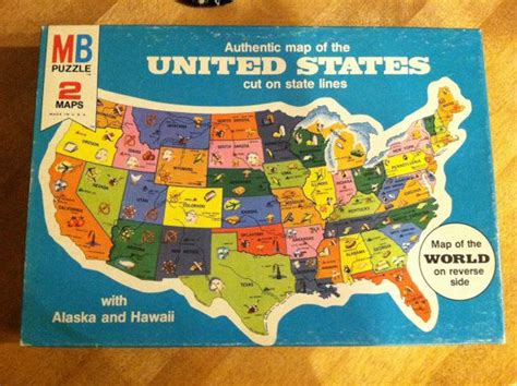 puzzle maps of the united states united states of america puzzle map 1975 sealed in