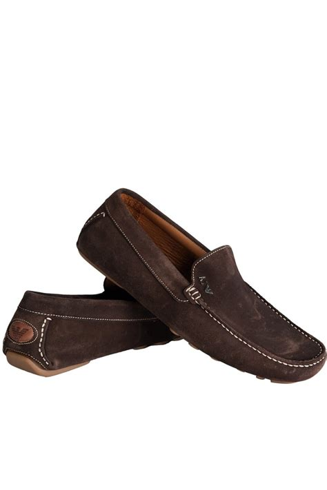 brown and white loafers armani suede loafer shoes in blue brown and white