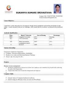 mba finance resume sle for freshers mba resume format