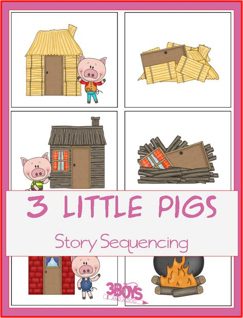 printable toddler stories three little pigs story sequencing printable cards