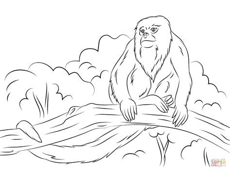 howler monkey sitting on a tree coloring page free