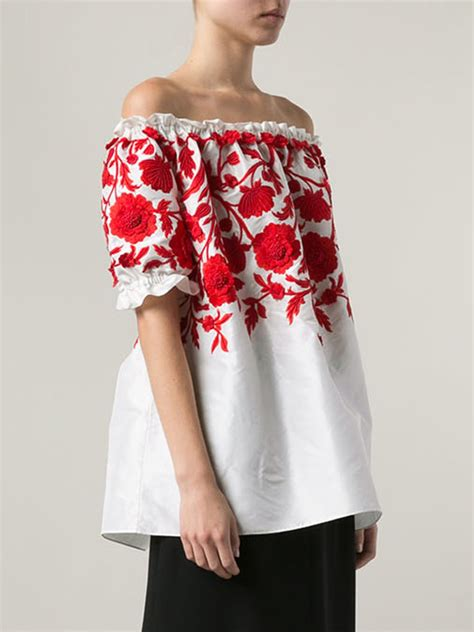 Wst 18408 Floral Embroidered Crop Shirt 1 lyst naeem khan embroidered peasant blouse in white