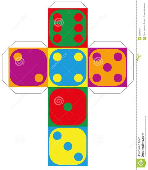 free printable editable dice dice template colorful six sided stock vector
