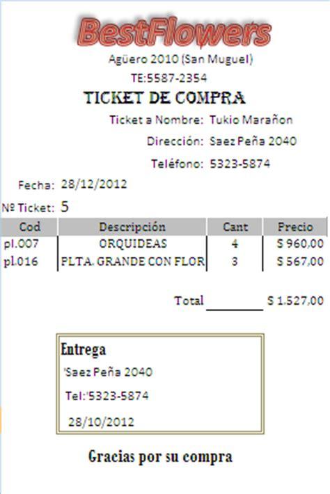 Ejemplo De Ticket De Compra | ticket de compra php