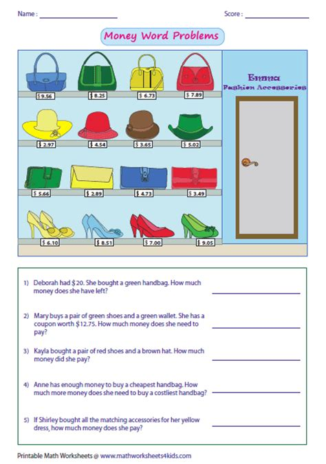 Money Word Problems Worksheets by Money Worksheets