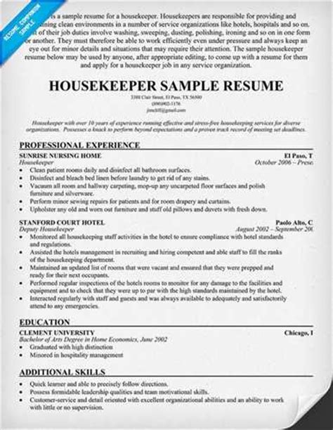 exles of housekeeping resumes how to write a resume for housekeeper ehow