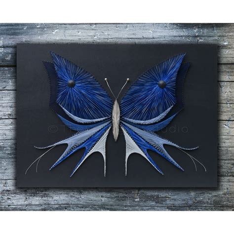 String And Designs - string butterfly with acrylic painting by
