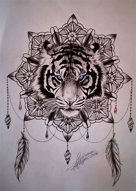 tiger tattoo designs for women blue tiger on mandala flower design