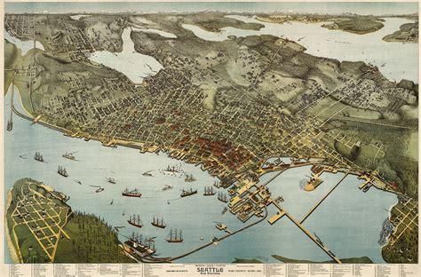 seattle map dwg antique map of seattle washington by augustus koch 1891