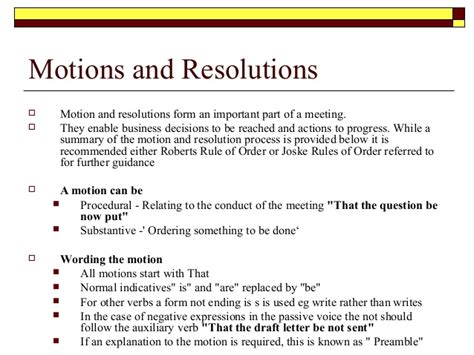 Meeting Procedures Board Meeting Motion Template