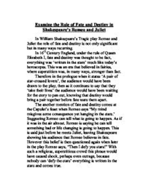 Romeo And Juliet Essay Fate by Fate Essay For Romeo And Juliet