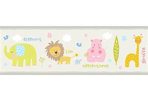 cenefa adhesiva infantil cenefa infantil de papel safari beige ref 17432653