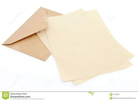 letter writing paper and envelopes brown envelope with letter paper royalty free stock