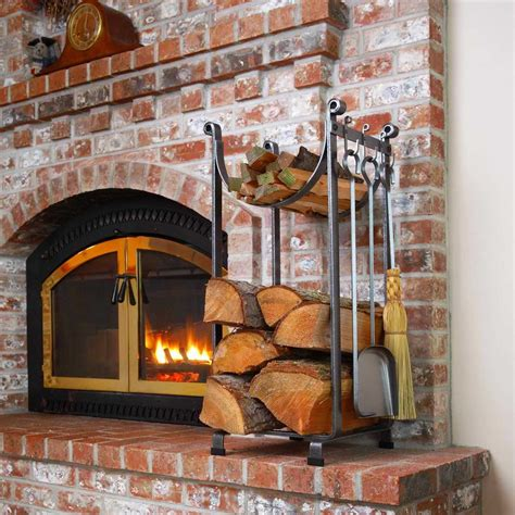 Firewood Fireplace by Metal Indoor Firewood Rack For Rustic Living Room Design